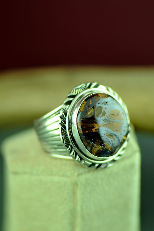 Authentic Navajo Sterling Silver Australian Boulder Opal Ring by Will Denetdale Size 12