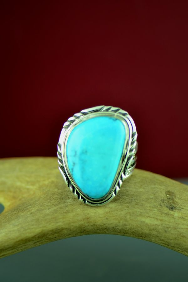 Navajo Sterling Silver Blue Moon Turquoise Ring by Will Denetdale Size 12 3/4