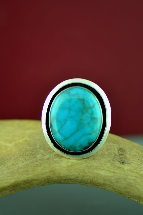 Navajo Sterling Silver Royston Turquoise Ring by Will Denetdale Size 13