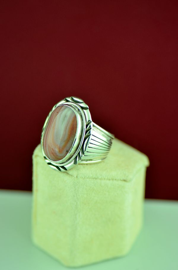 Navajo – Sterling Silver Petrified Wood Ring by Will Denetdale Size 10
