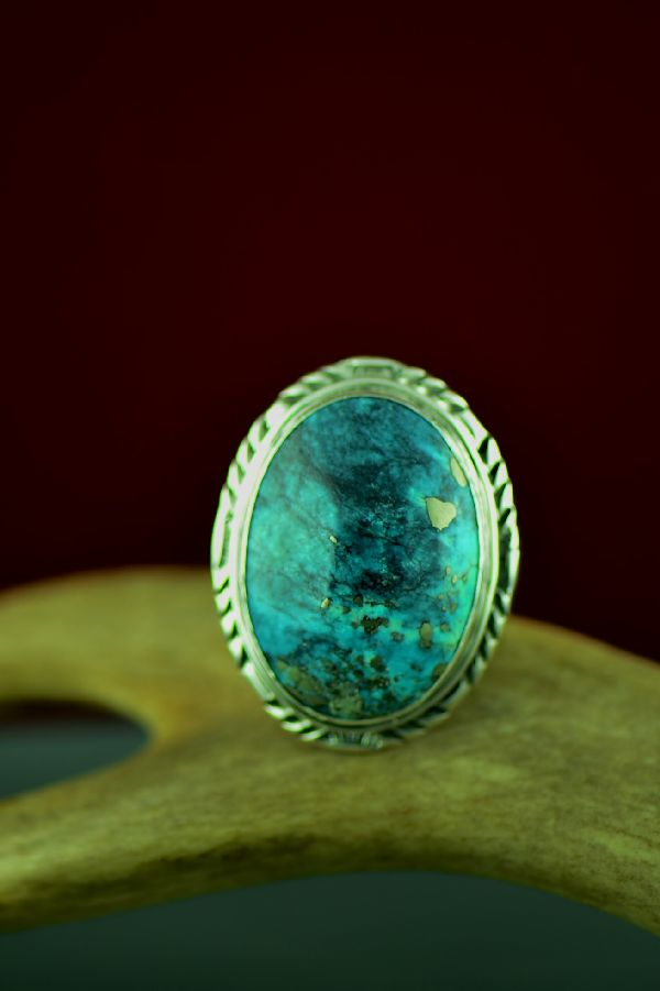 Navajo Sterling Silver Royston Turquoise Ring by Will Denetdale Size 13 1/2