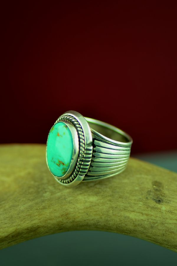 Navajo Sterling Silver Fox Turquoise Ring by Will Denetdale Size 7 1/2