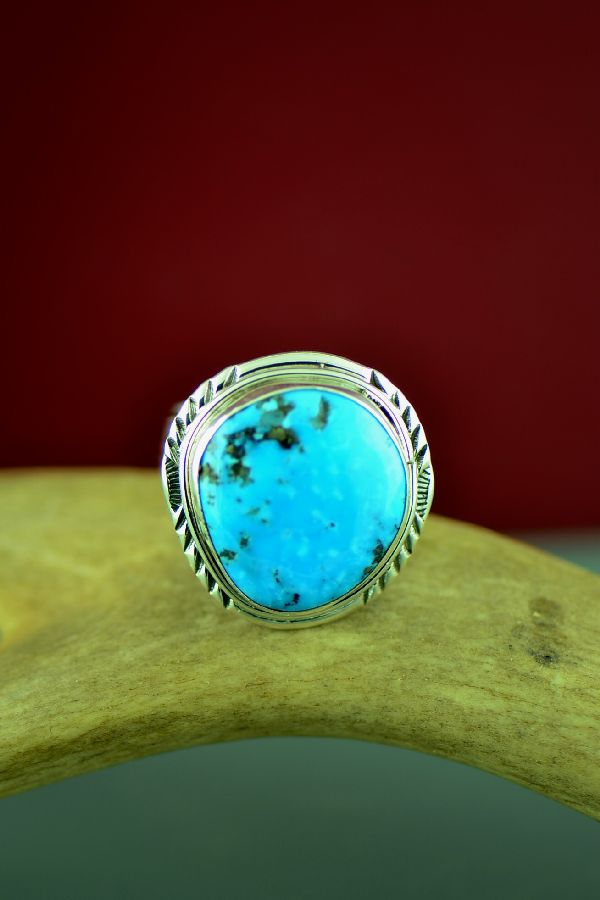 Will Denetdale Navajo Sterling Silver Kingman Birds Eye Turquoise Ring by Will Denetdale Size 11 1/2