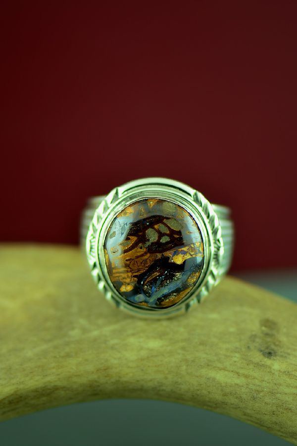 Navajo Sterling Silver Australian Boulder Opal Ring by Will Denetdale Size 12 3/4