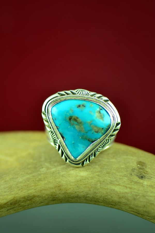 Navajo Sterling Silver Blue Gem Turquoise Ring by Will Denetdale Size 11