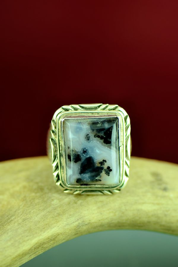 Navajo Moss Agate Sterling Silver Ring Size 11