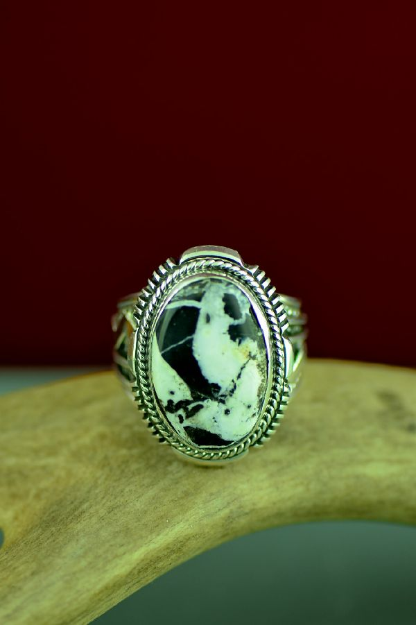 Navajo White Buffalo Stone Ring Will Denetdale Size 12 3/4