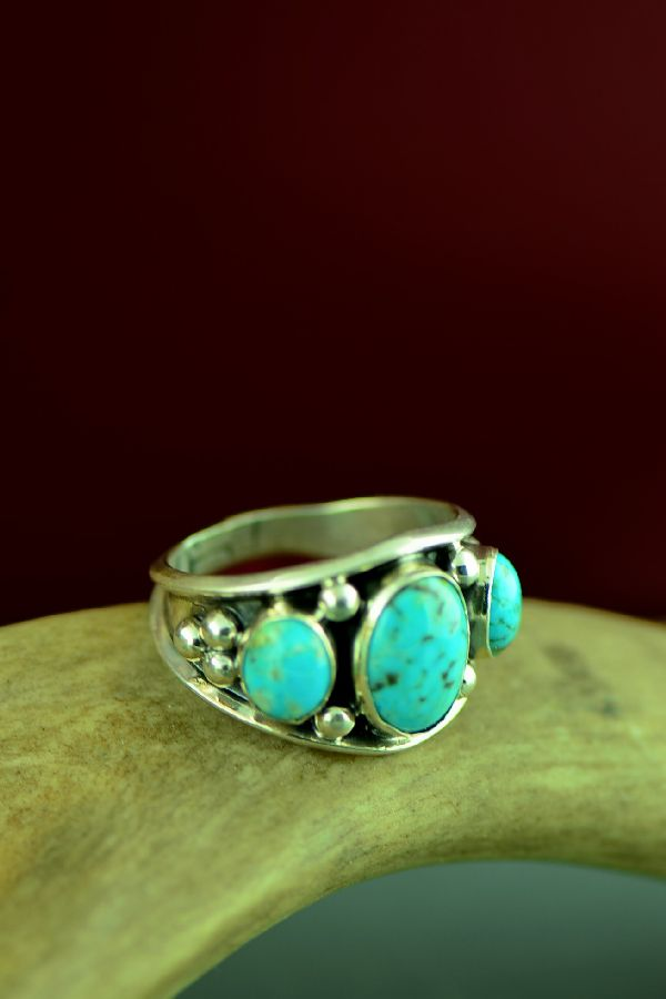 Will Denetdale Kingman Turquoise Ring Size 13 Navajo