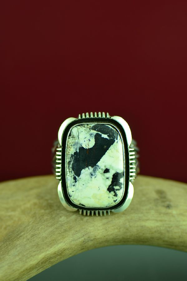 Navajo Sterling Silver White Buffalo Ring Will Denetdale Size 14 1/2
