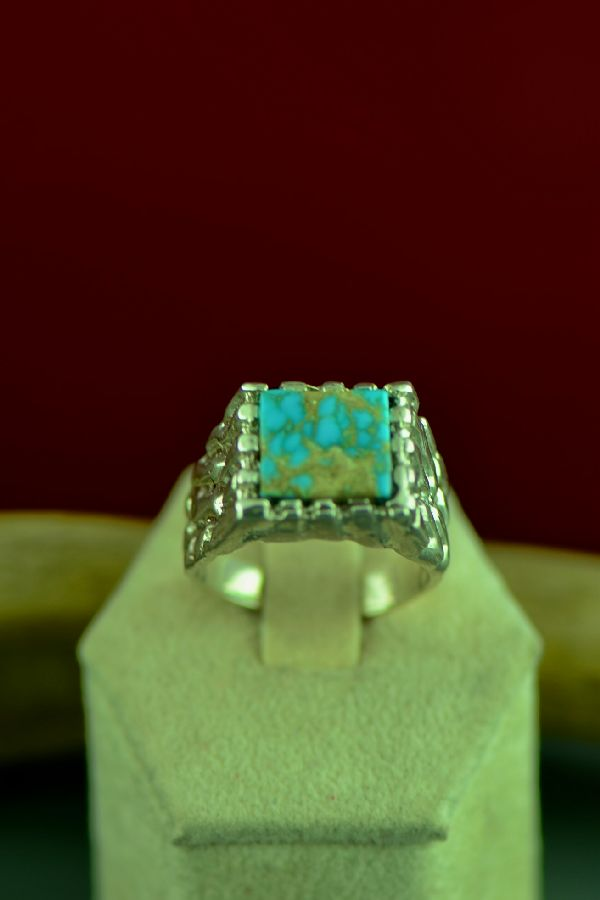 Cherokee Sterling Silver Royston Turquoise Ring by Mel Kales Size 11 1/2