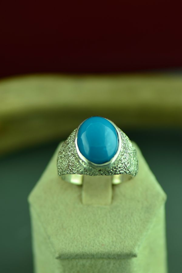 Cherokee Sterling Silver Sleeping Beauty Turquoise Ring by Mel Kales Size 11 1/2