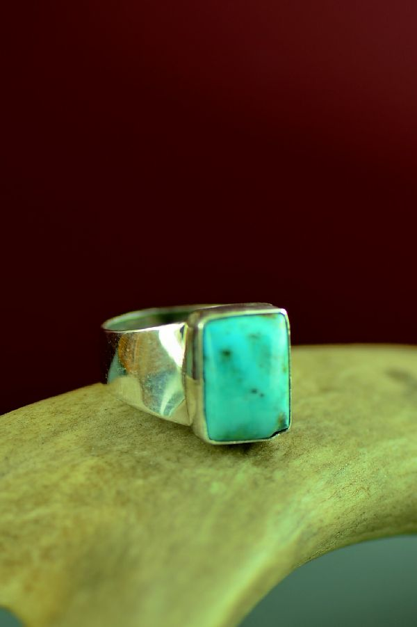 Navajo Kingman Turquoise Sterling Silver Ring by Will Denetdale Size 6 3/4