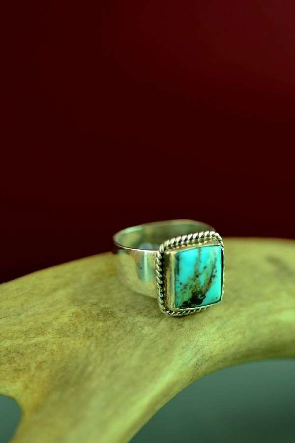 Navajo Sterling Silver Kingman Turquoise Ring by Will Denetdale Size 5