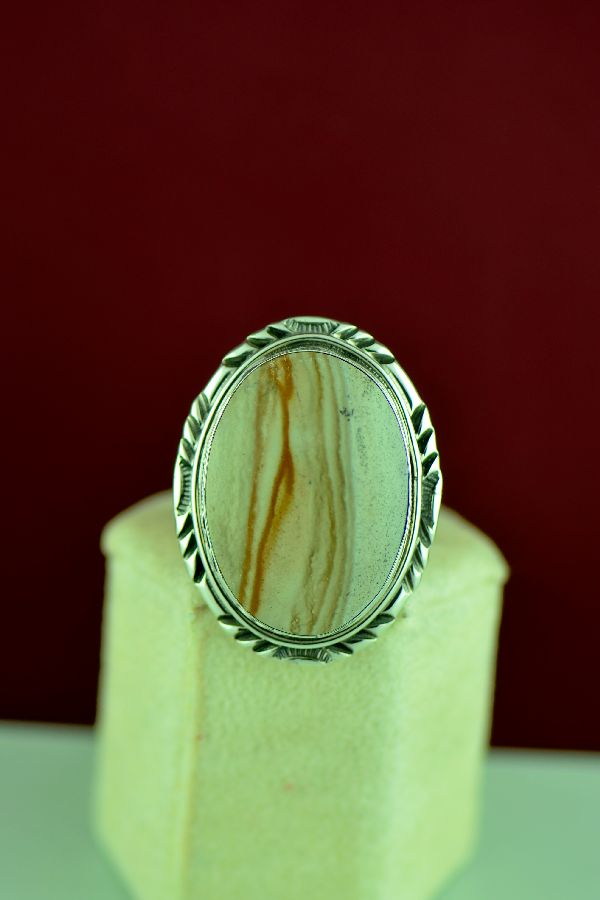 Navajo – Sterling Silver Picture Agate Ring by Will Denetdale Size 9
