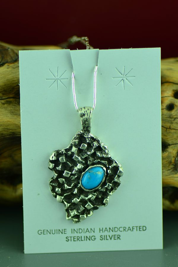 Cherokee Sterling Silver Blue Gem Turquoise Pendant by Mel Kales