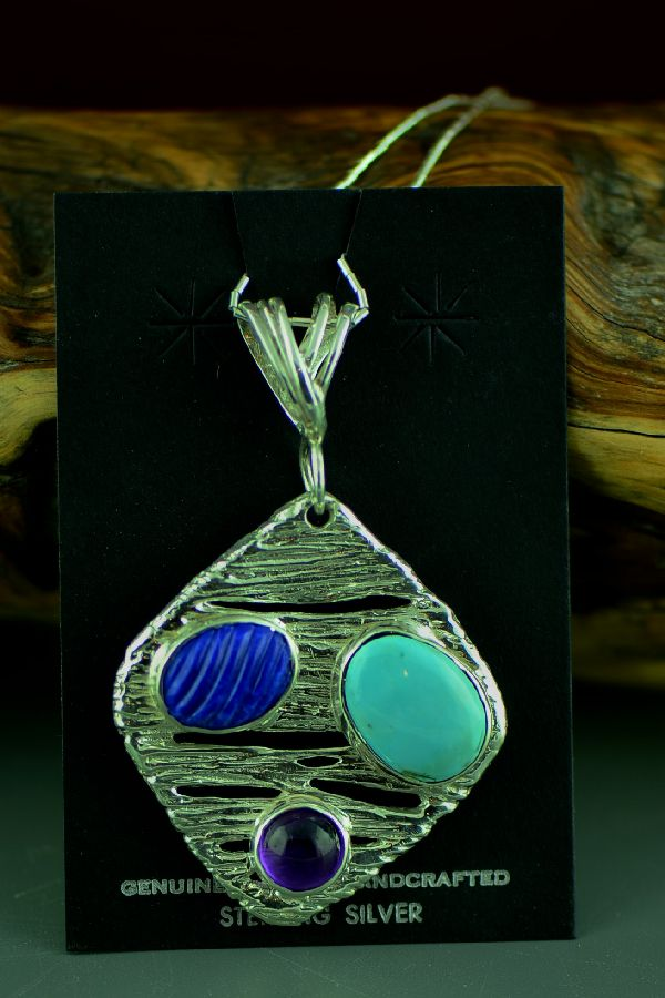 Cherokee Sterling Silver Sleeping Beauty Turquoise, Lapis and Amethyst Pendant by Mel Kales