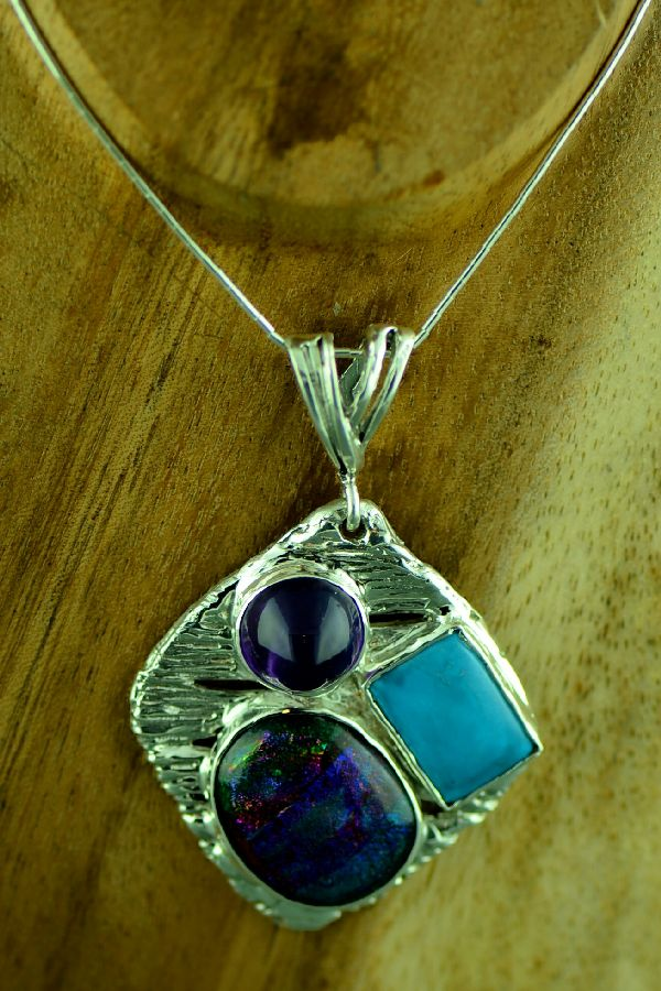 Cherokee Sterling Silver Sleeping Beauty Turquoise, Amethyst and Cut Glass Pendant by Mel Kales