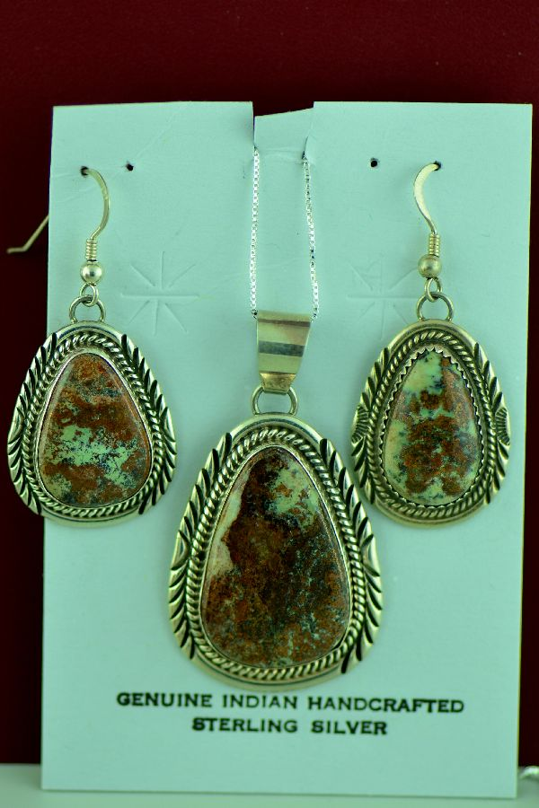 Navajo – Sterling Silver Bisbee Cambellite Pendant and Earring Set by Will Denetdale