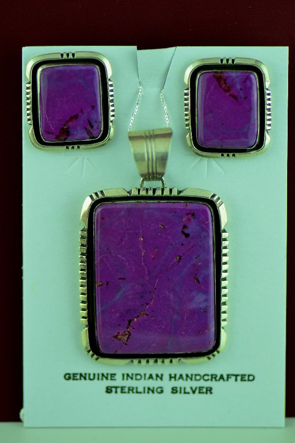 Navajo – Exquisite Sterling Silver Purple Magenta Pendant and Earrings by Will Denetdale