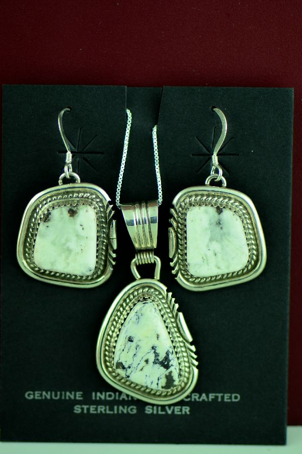 Navajo – Sterling Silver White Buffalo Pendant and Earring Set by Loren Begay