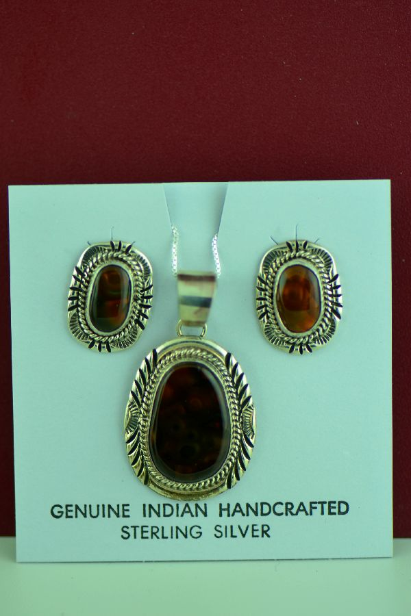 Navajo – Sterling Silver Slaughter Mountain Fire Agate Pendant and Earring Set by Will Denetdale