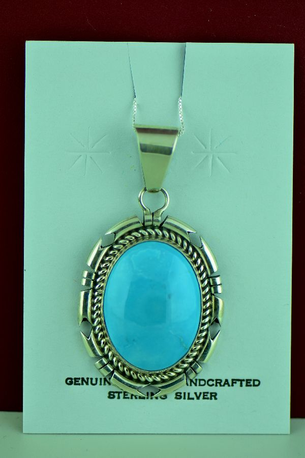 Navajo – Sterling Silver Kingman Turquoise Pendant by D. Livingston