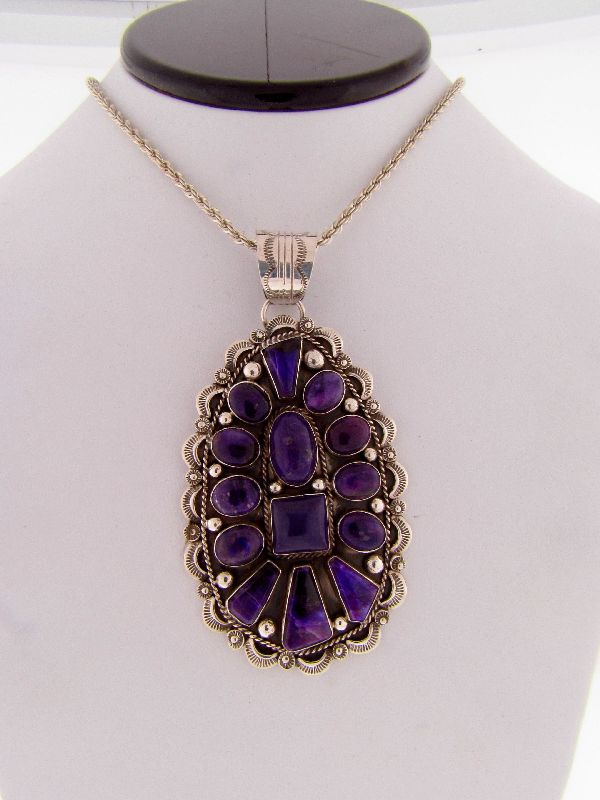 Navajo – Exquisite Sterling Silver High Grade Sugilite Cluster Pendant by Will Denetdale (From a Private Collection)