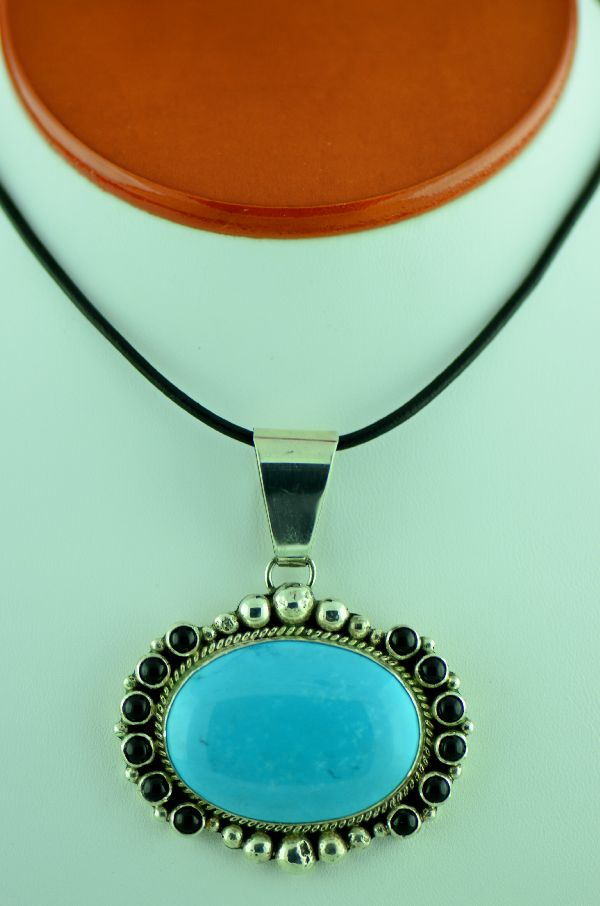 Black Onyx and Turquoise Pendant