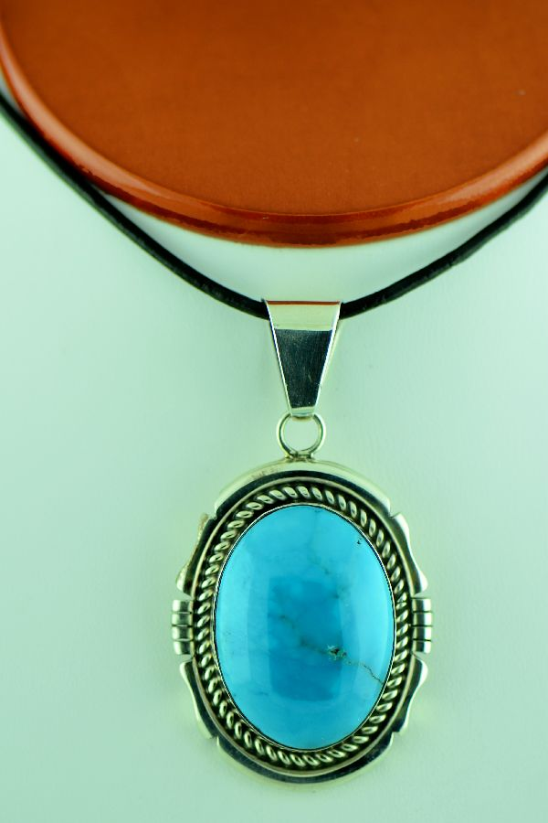 Navajo - Sterling Silver Kingman Turquoise Pendant by D. Livingston