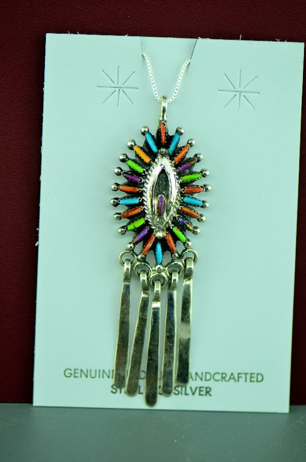 Navajo Sterling Silver Needle Point Turquoise, Gaspeite, Charoite, Spiny Oyster Shell and Coral Pendant by M. Begay