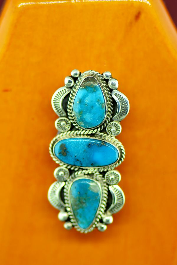 Navajo Sterling Silver Bisbee Turquoise Pin by Will Denetdale