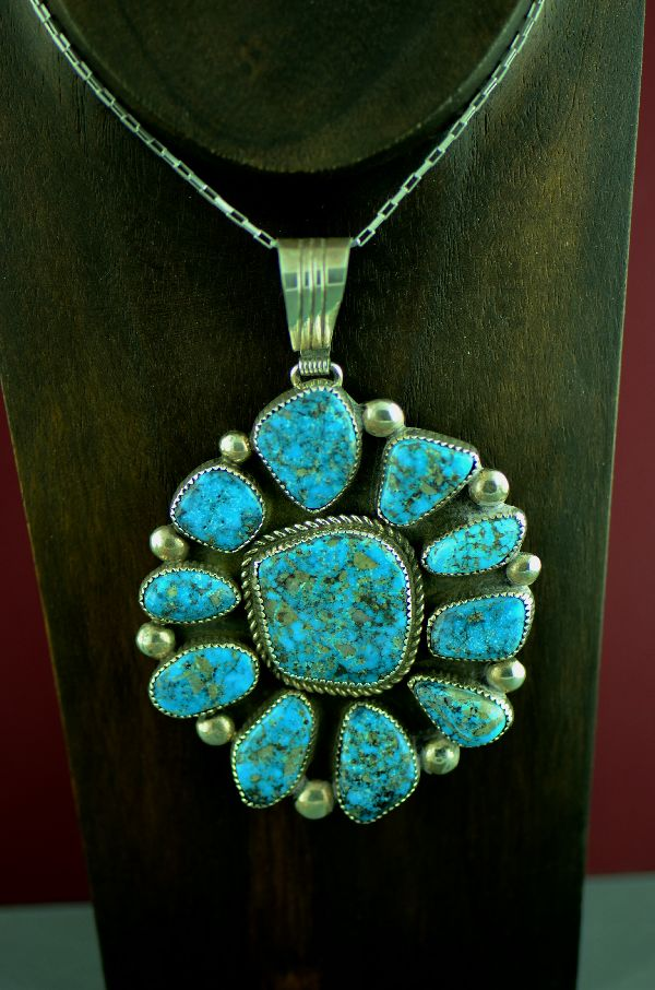 Navajo Exquisite Sterling Silver High Grade Natural Morenci Turquoise Cluster Pendant by Loren Begay (From a Private Collection)