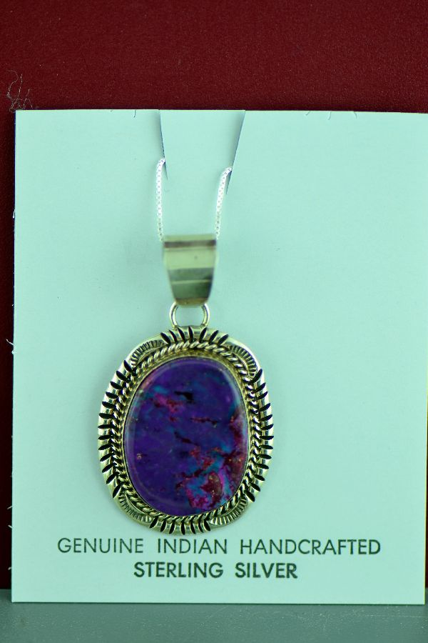 Navajo Sterling Silver Mohave Purple Turquoise Pendant by Will Denetdale