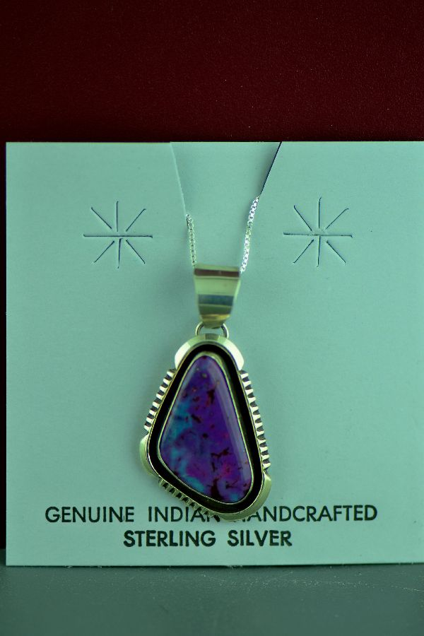 Navajo Mohave Purple Turquoise Sterling Silver Pendant by Will Denetdale