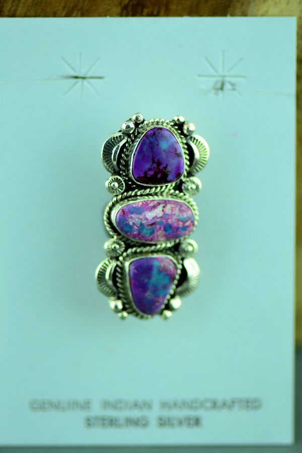 Navajo Sterling Silver Mohave Purple Turquoise Pin by Will Denetdale