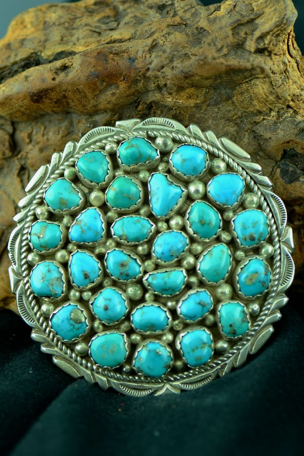 Navajo – Exquisite Sterling Silver Sleeping Beauty Turquoise Cluster Pin by Tomosie (From a Private Collection)