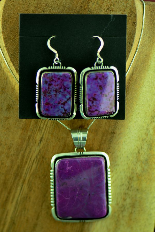 Navajo Exquisite Sterling Silver Purple Magenta Pendant and Earrings by Will Denetdale