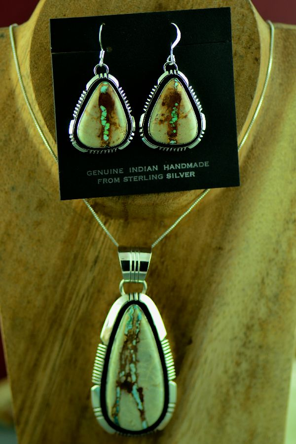 Will Denetdale Navajo Sterling Silver Royston Blue Ribbon Turquoise Pendant and Earrings
