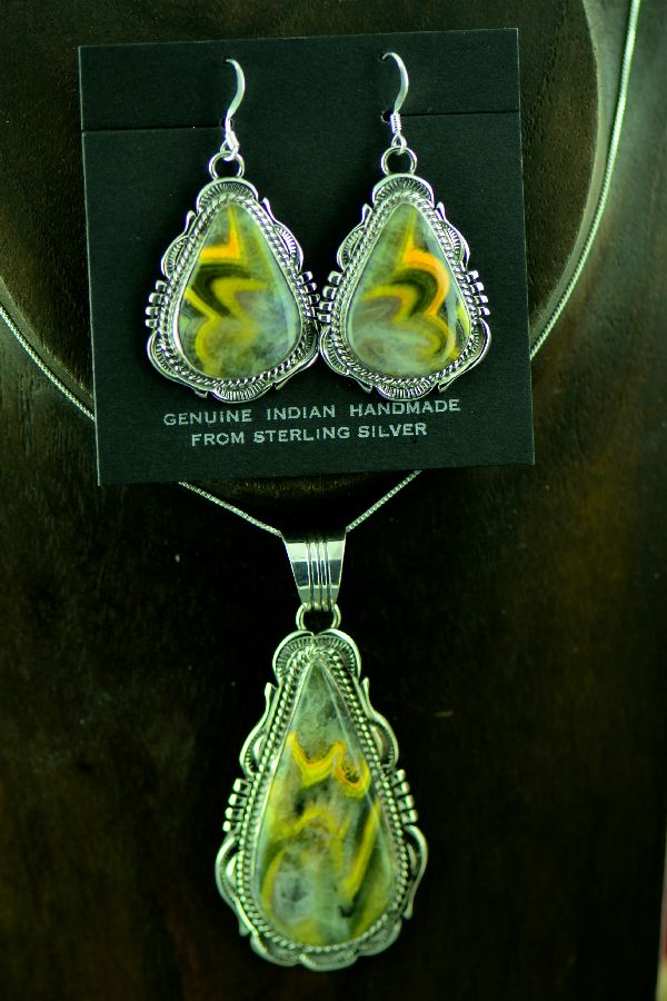 Navajo Sterling Silver Bumble Bee Jasper Pendant and Earrings by Will Denetdale