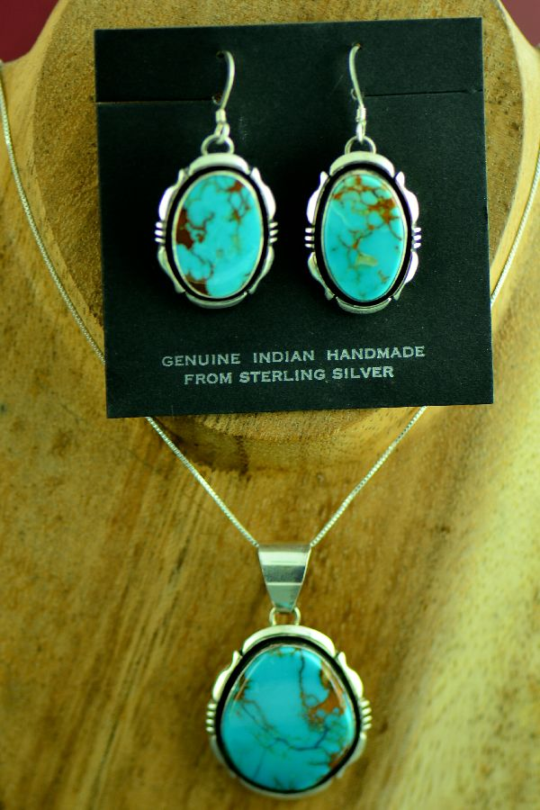 Navajo Sterling Silver Royston Turquoise Pendant and Earrings by Will Denetdale