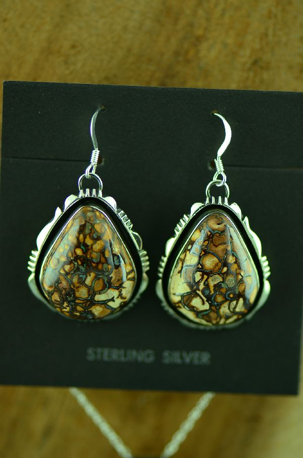 Navajo Sterling Silver Australian Boulder Opal Pendant and Earrings by Will Denetdale