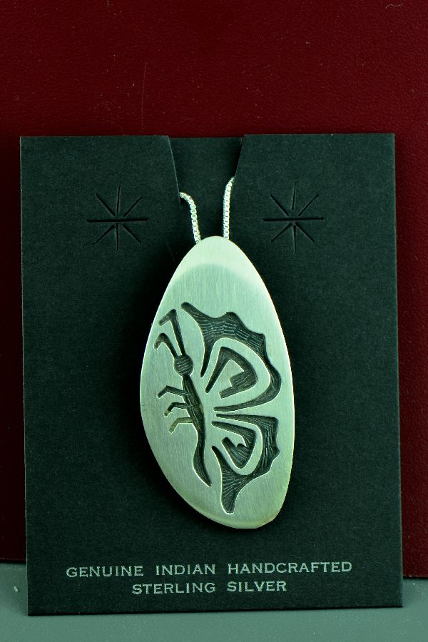 Hopi – Sterling Silver Overlay Butterfly Pin/Pendant by Michael Sockyma