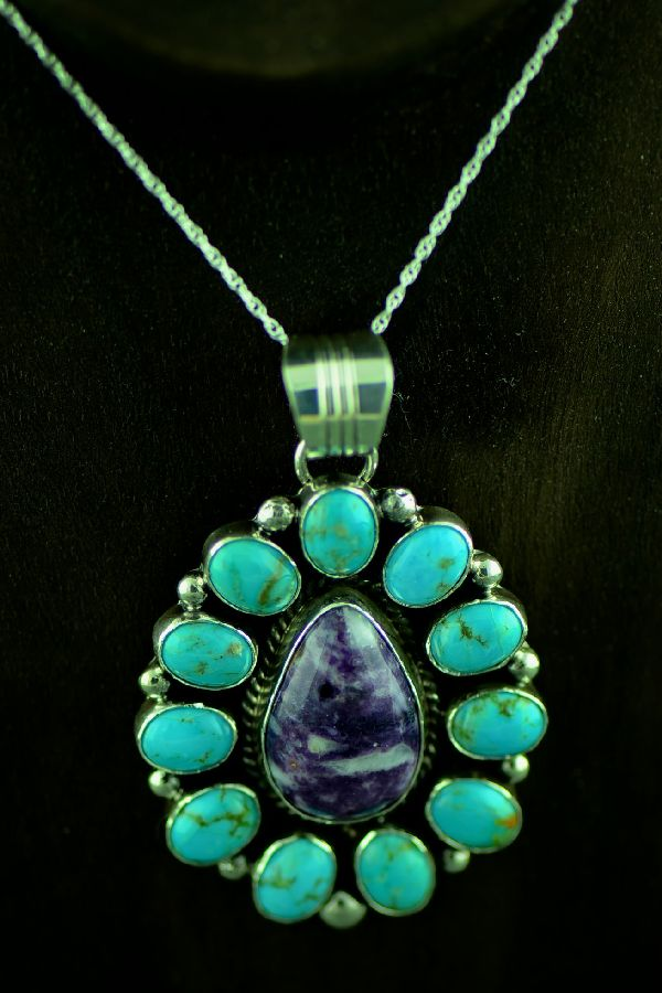 Navajo Sterling Silver High Kingman Turquoise and Sugilite Cluster Pendant by Will Denetdale