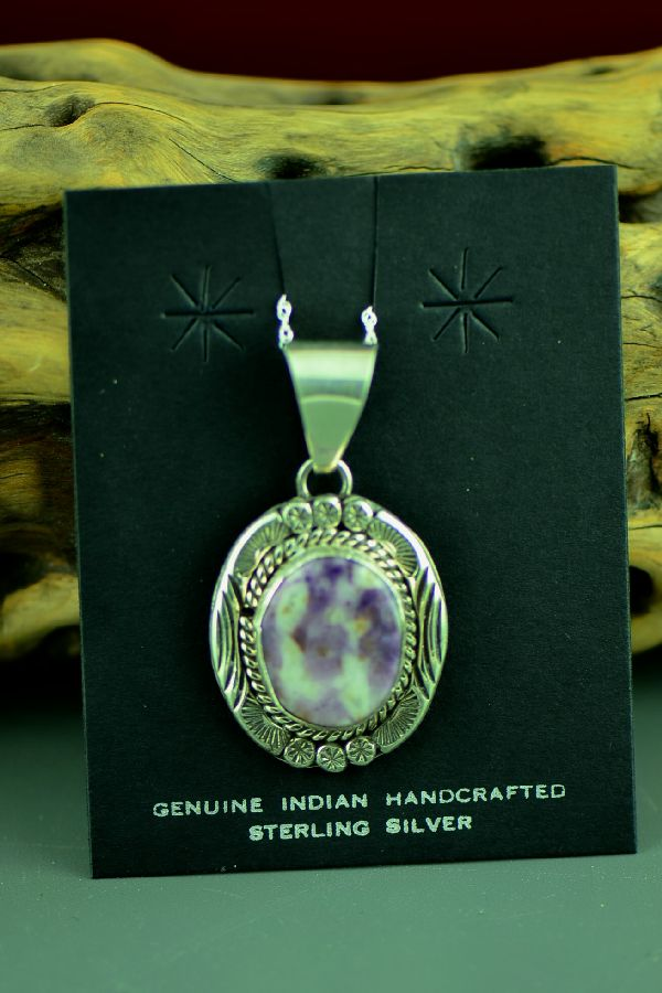 Navajo Sterling Silver Opal Fluorite Pendant by Mary Thomas
