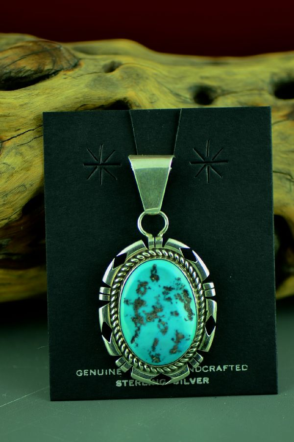Navajo Sterling Silver Sleeping Beauty Turquoise Pendant by D. Livingston