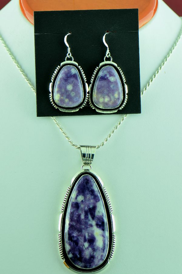 Navajo – Exquisite Sterling Silver Opal Fluorite Pendant and Earrings by Will Denetdale (From a Private Collection)