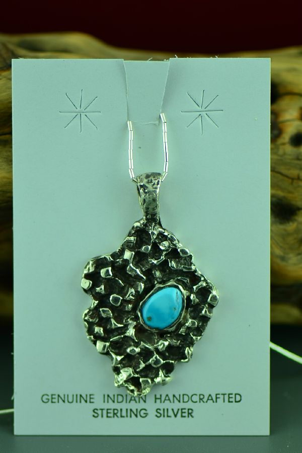 Cherokee Sterling Silver Kingman Turquoise Pendant by Mel Kales
