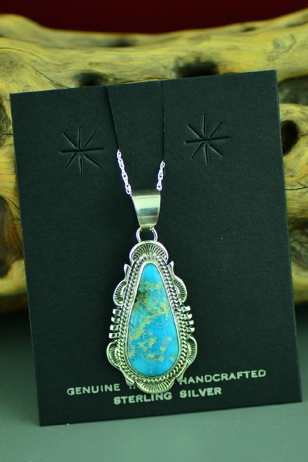 Navajo Sterling Silver Bisbee Turquoise Pendant by Will Denetdale