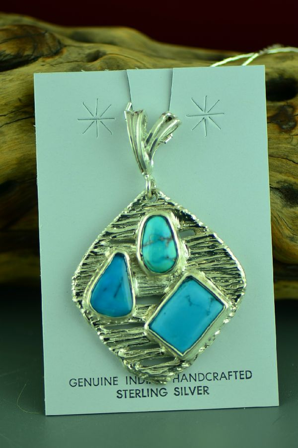 Cherokee Sterling Silver Bisbee, Blue Gem and Morenci Turquoise Necklace by Mel Kales
