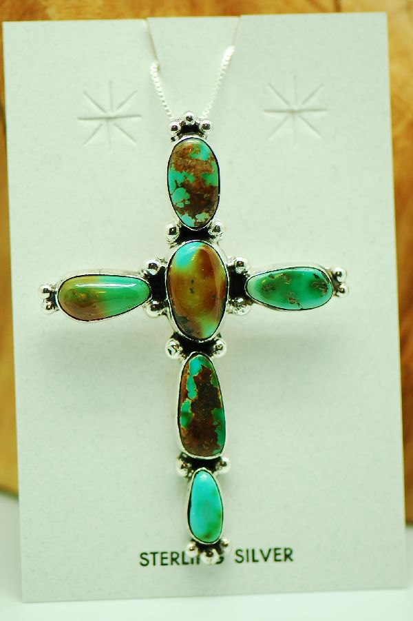 Navajo – Sterling Silver Royston Turquoise Cross by Will Denetdale